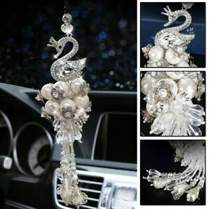 Car Pendant 33 5cm Accessorie Crystal Decor Hanging Rear View Mirror Swan