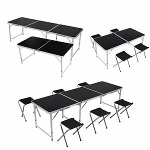 4 6ft Adjustable Black Folding Table Portable Outdoor Garden Picnic Party Table