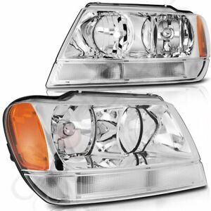 Headlights For 1999 2004 Jeep Grand Cherokee Front Chrome Lamps Pair Replacement