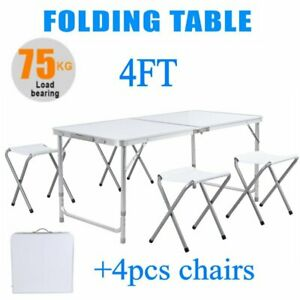 4 Ft Portable Folding Table Outdoor Picnic Plastic Camping Dining Party 4 Chairs