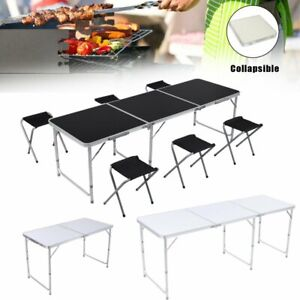 4 6ft Portable Folding Table Picnic Party Dining Camp 4 6 Folding Chairs Outdoor