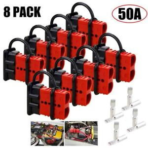 8x Battery Quick Connect disconnect Connector Harness Plug Kit Trailer Winch 50a