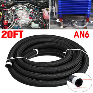 20 Feet An6 Nylon Stainless Steel Braided Car Fuel Oil Gas Hose Line Pipe Black