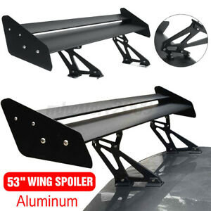 53 Car Aluminum Double Deck Gt Style Racing Trunk Spoiler Wing Rear Universal