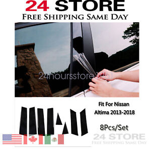 8pc Polished Pillar Posts Fit For 2013 2018 Nissan Altima Door Window Trim Cover