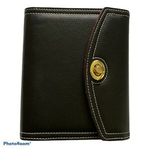 Franklin Covey Day One Compact Black Pebble Synthetic Leather 6 ring Planner