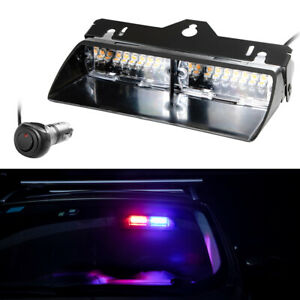 Yhaavale 16 Led Dash Strobe Light Red Blue Windshield Mini Bar 12v 18 Flash Mode