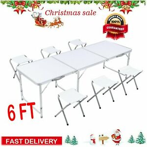 6 Ft Folding Table 6 Chairs Aluminium Alloy Indoor Outdoor Camping Picnic Party