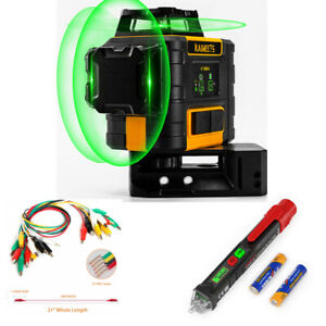 Kaiweets Self Leveling Laser Level 3x360 3d Green With Test Pen Alligator Cable