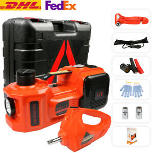 Auto 12v 5t Electric Hydraulic Floor Jack Lift Air Pump Electric Wrench Tool Set