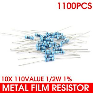 110 Values Assorted Metal Film Resistor Assortment Kit 1 2w 0 1 10m 1100pcs