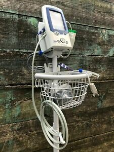 Welch Allyn Spot Vital Signs Lxi Patient Monitor 45nto Mobile Stand Temp Probe