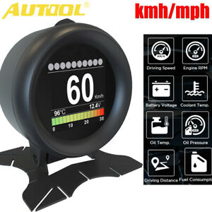Car Obd2 Hud Display Digital Speedometer Overspeed Alarm Rpm Temp Gauge Kmh Mph