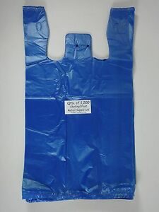 Blue Plastic T shirt Bags W Handles 1000 Qty 11 5 X 6 x 21 Retail Shopping