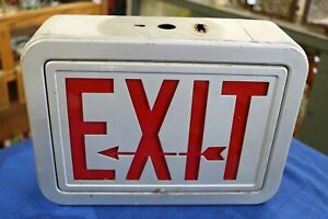 Vintage Double Sided Metal Exit Sign Metal Arrow Cut Out Needs Light