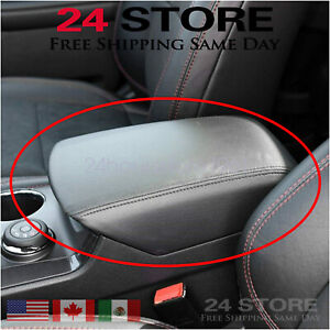 Fits 2011 2019 Ford Explorer Black Real Leather Center Console Lid Armrest Cover