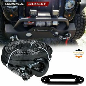 95 X 3 8 Synthetic Winch Rope 20500 Lb Clevis Hook Hawse Fairlead Black