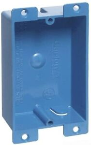 Carlon B108r upc Switch outlet Box Old Work 1 Gang Blue