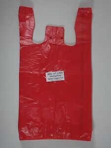 1000 Qty Red Plastic T shirt Retail Shopping Bags W Handles 11 5 X 6 X 21