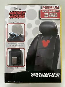 Disney S Mickey Mouse Premium Seat Cover 3 Piece Sideless With Cargo Pocket New