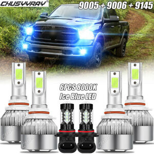 For Dodge Ram 1500 2500 3500 2011 2017 Ice Blue Led Headlight Fog Light Bulbs 6x