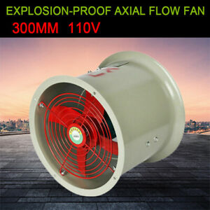12 Explosion proof Tube Axial Duct Fan Cylinder Pipe Exhaust Flow 1450rpm 180w