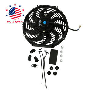 12 Inch Universal Slim Electric Radiator Cooling Fan Push Pull Mount Kit 12v Us