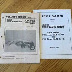 New Idea 4100 Series Parallel Bar Hay Rakes Parts Manual Operator s Guide Books