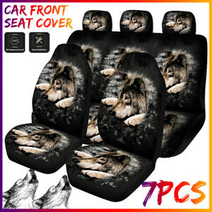 Us 7pcs Cool Wolf Print Car Seat Cover Protector Universal Wear resistant Kit