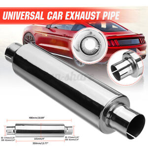 Universal 2 25 Id 19 Long Resonator Exhaust Muffler Silencer Stainless Steel