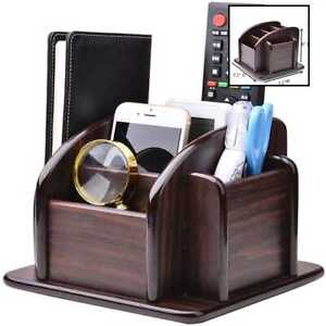 Ycoco Wood Office Supplies Desk Organizer Rack Rotating Remote Control Holder Pe