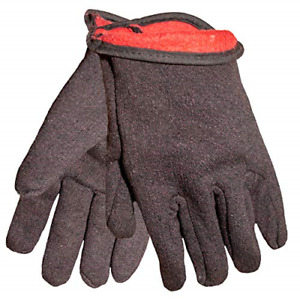G F 4414l dz Brown Jersey Winter Work Gloves With Red Fleece Lining Large