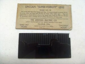 Vintage Lincoln super Visibility Welding Helmet Lens Shade No 10 Chipped