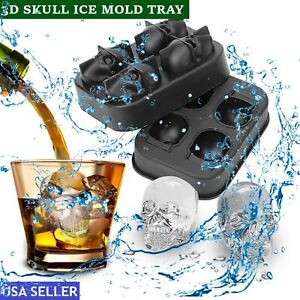 3d Skull Ice Cube Tray Silicone Maker Round Ball Sphere Chocolate Mold Cocktails