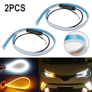 2pcs Car 2835 Led Drl Turn Signal Light Strip 60cm Amber white Sequential Light