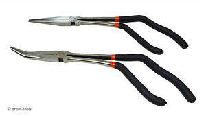 Pistol Grip Needle Nose Pliers Set 11 Long Straight And Angle Automotive