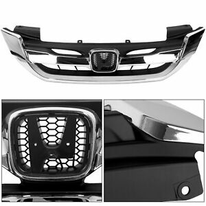 Fits Honda Accord 4 Door 2013 2015 Front Upper Hood Grille Jdm Style Chrome New