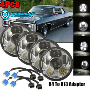 4pcs 5 3 4 5 75 Led Projector Headlights Drl Fit For Dodge Charger Impala