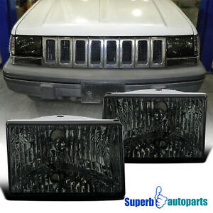 For 1993 1998 Jeep Grand Cherokee Headlights Lamps Smoke