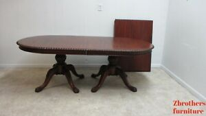 Antique Mahogany Rope Twist Dining Room Table Ball Claw Chippendale