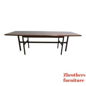 Vintage Danish Modern Walnut Surfboard Dining Room Conference Banquet Table