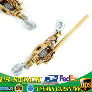 2ton Heavy Duty Hand Puller Come Along Cable Hoist Hooks 4400lb Solid Metal Gear