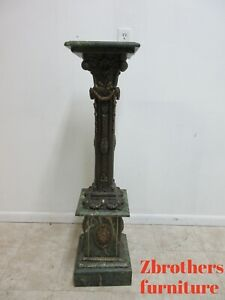 Italian Neoclassical French Style Bronze Green Marble Pedestal End Table Stand