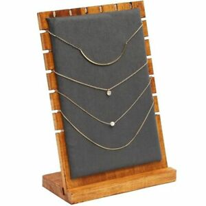 Wood And Velvet Necklace Jewelry Tabletop Display Board 9 75 X 6 6 X 0 3 Inch