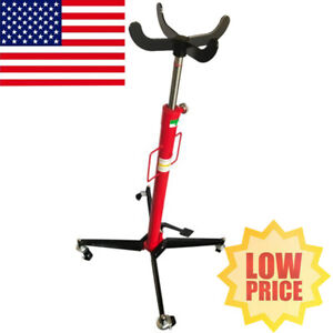 1100 Lb Car Transmission Jack Foot Pump Loaded High Lift Stand Steel With Wheel