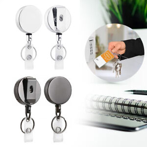 2pc Id Badge Holder Reel Metal Name Card Keychain Retractable Office Heavy Duty