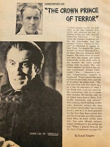 Christopher Lee Two Page Vintage Clipping $1.69
