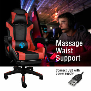 Gaming Office Chair Pu Leather Recliner Computer Chairs Seat Lumbar Massage Red