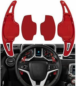 Steering Wheel Paddle Shifter Trim Cover Fit For Chevrolet Camaro 2010 2015 Red