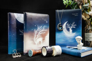 Glow In The Dark Deer Moon A6 Diary Bujo Journal Gift Box Washi Stamp Pendant